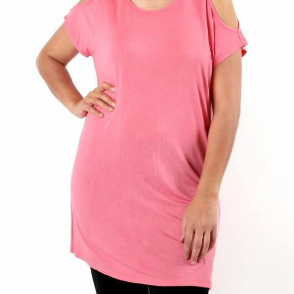 NEW Womens Open Shoulder Pink Plus Size Dress Boutique